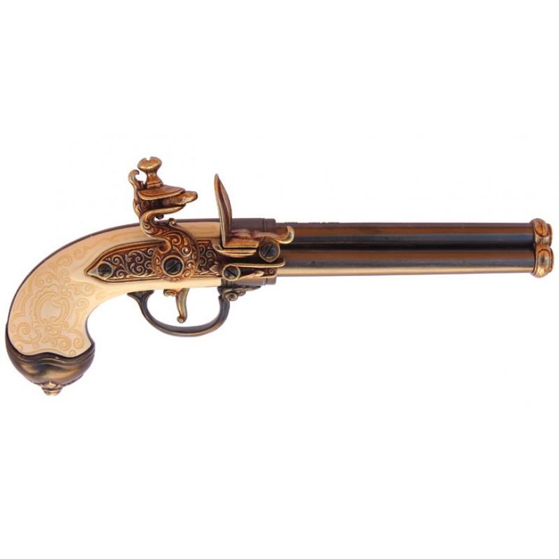 Triple Barrel Revolving Wood Grip Eagle Flintlock Pistol ...   Triple Barrel Flintlock Pistol