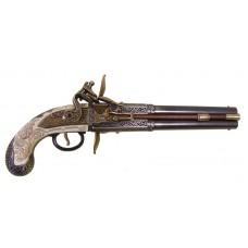1750 Double-Barreled Turn-Over Flintlock Pistol Replica