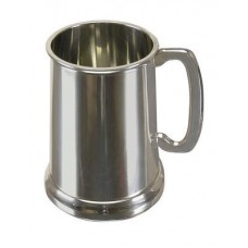 English Sheffield Pewter 19oz Polished Shiny Finish Glass Bottom Tankard