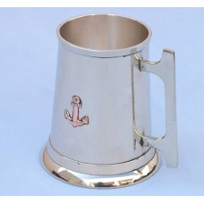 Polished Brass 16oz  Anchor Tankard With Cleat Handle