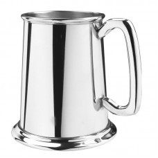 Salisbury Web Pewter 16oz Polished  Brite Finish Glass Bottom Tankard