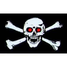 3' x 5'  Skull Bones W/ Red Eyes Pirate Flag