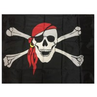 3' x 5' Pirate Flag Skull and Crossbones Red Head band Jolly Roger  Flag