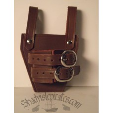 Brown Leather Sword Hanger - Buckle Style