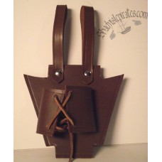 Brown Leather Sword Hanger - Lace Up Style