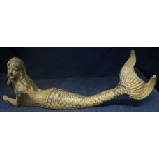 "10"" Rustic Cast Iron Resting Mermaid Figure"