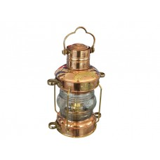 "13"" Solid Brass and Copper Antique-Replica Oil Anchor Lamp"
