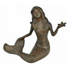 "15"" Rustic Cast Iron Mermaid With Starfish"
