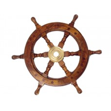"15"" Deluxe Wood and Brass Ship Wheel"