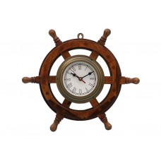 "18"" Deluxe Antique Brass Wooden Ship Steering Wheel Clock"