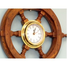 "18"" Deluxe Class Wood and Brass Ship Steering Wheel Clock"