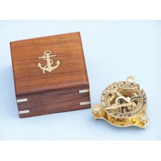 "3"" Solid Brass Captain's Triangle Sundial Compass w/ Rosewood Box"