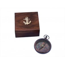 "4"" Antique Brass Beveled Lensatic Compass w/ Rosewood Box"
