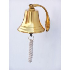 "5.5"" Polished  Brass  Hanging Harbor Bell With Lanyard"