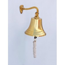 "6"" Polished  Brass  Handcrafted Hanging Ships Bell with Lanyard"