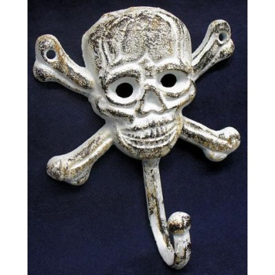 "6"" Cast Iron Skull and Crossbones Jolly Roger Pirate Coat Hook"