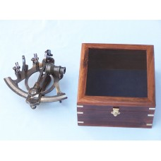 "7"" Antique Brass Sextant With Rosewood Box"