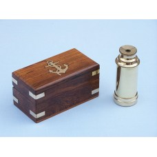 "7"" Solid Brass  Pocket Spyglass Telescope W/ Rosewood Box"