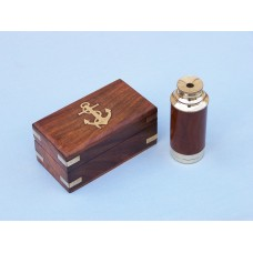 "7"" Deluxe Wood and Brass Pocket Spyglass Telescope W/ Rosewood Box"