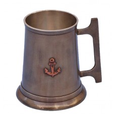 Antique Brass 16oz Anchor Tankard With Cleat Handle