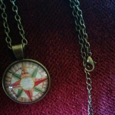 "19"" Antique Bronze Compass Rose Cabochon Pendant Necklace With Chain"