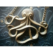 "27"" Antique Brass Vintage Style Octopus  Necklace"