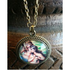"19"" Antique Bronze ""Two Mermaids"" Cabochon Necklace with Gift Bag"