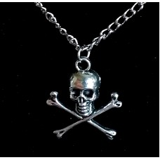 Silver Skull & Crossbones Pirate Charm Pendant Necklace
