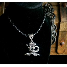 Silver Mermaid Pendant Necklace With Rope Chain & Clasp
