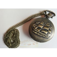 USS Constitution Antiqued Bronze Quartz Movement Pocket Watch With Chain