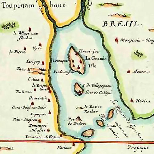 French Antartique - 1555 - French Island - Chart Of Brazil