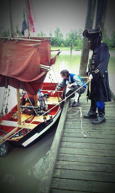 Capt. Blackeye  launches the mini-brig Liberte