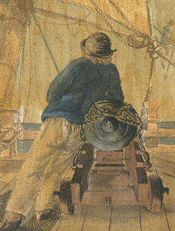 Sailor with monmoth cap leaning on cannon circa 1775