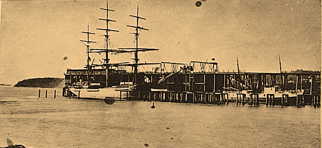 Fully Rigged Ship At Pike Pier Coal Bunkers 1875