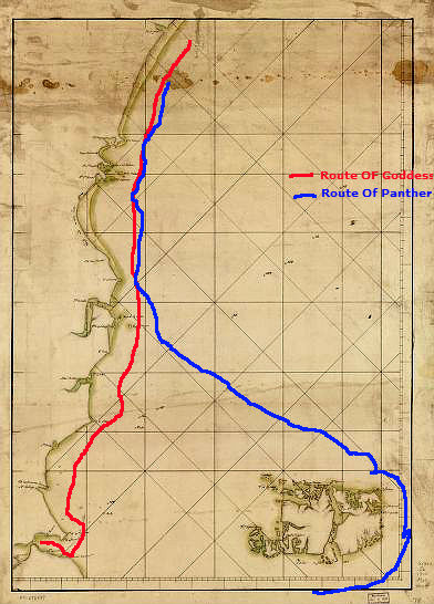 Approximate route taken by the Goddess and Panther