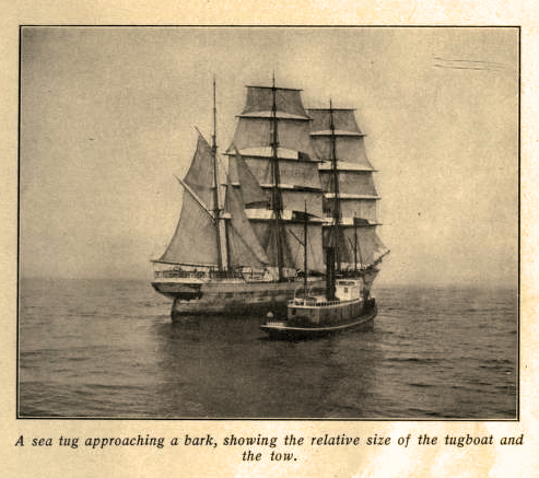 Sea Tug & Bark Showing The Relative Size