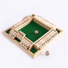 Handcrafted Wooden Shut the Box Traditional Game Four Player Edition