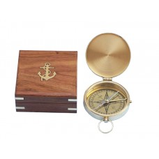 "4"" Solid Brass Gentlemen's Pocket Compass With Rosewood Box"